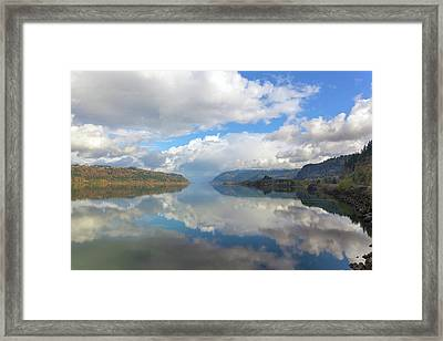Clouds Reflection On The Columbia River Gorge Framed Print by David Gn