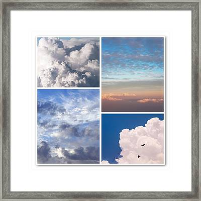 Framed Print featuring the photograph Cloudscapes Collage by Jenny Rainbow