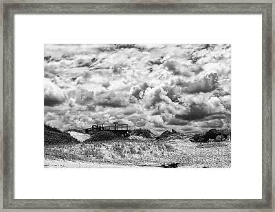 Framed Print featuring the photograph Cloudy Beach Black And White By Kaye Menner by Kaye Menner