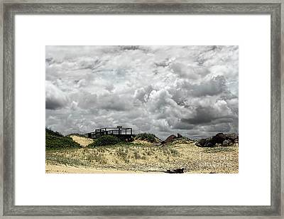 Framed Print featuring the photograph Cloudy Beach By Kaye Menner by Kaye Menner