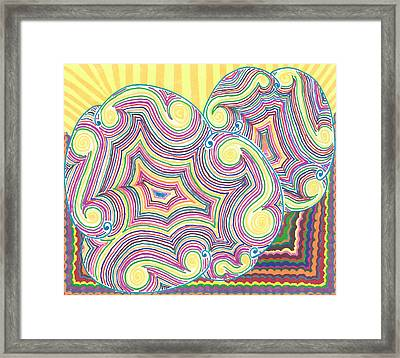 Framed Print featuring the drawing Cloudy Chaos by Jill Lenzmeier