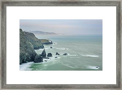 Cloudy Day At Marin Headlands - Point Bonita Lighthouse Photograph Framed Print
