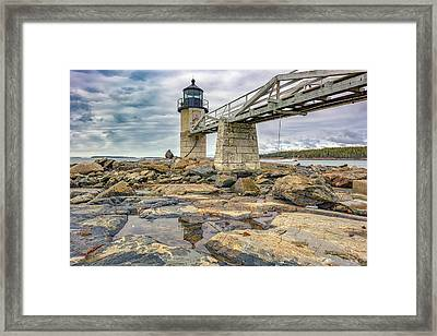 Cloudy Day At Marshall Point Framed Print by Rick Berk