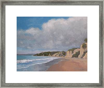 Cloudy Day At Summerland Beach Framed Print