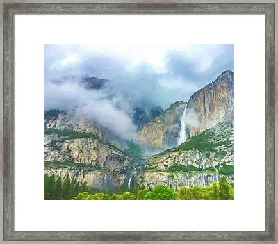 Cloudy Day At Yosemite Falls Digital Watercolor Framed Print