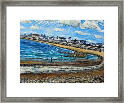 Framed Print featuring the painting Cloudy Day In Green Harbor  by Rita Brown