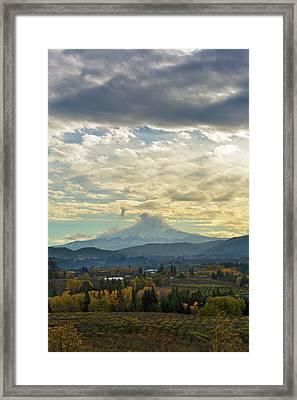 Cloudy Day Over Mount Hood At Hood River Oregon Framed Print