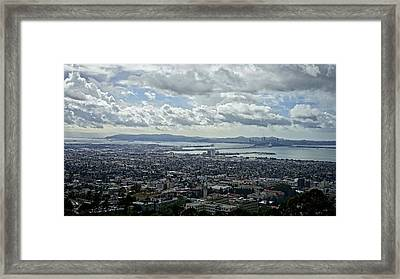 Cloudy Day Over The Bay Framed Print by Lennie Green