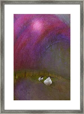 Framed Print featuring the digital art Cloudy Day Sheep by Jean Moore