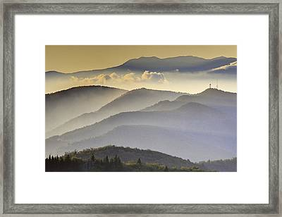 Cloudy Layers On The Blue Ridge Parkway - Nc Sunrise Scene Framed Print by Rob Travis