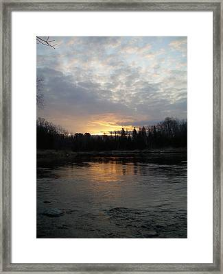 Framed Print featuring the photograph Cloudy Mississippi River Sunrise by Kent Lorentzen