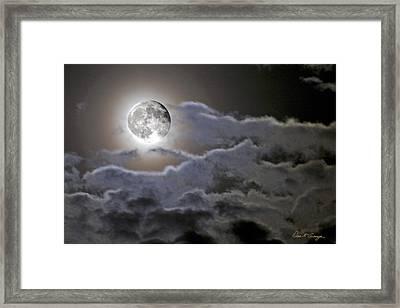 Cloudy Moon Framed Print