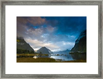 Cloudy Morning At Milford Sound At Sunrise Framed Print