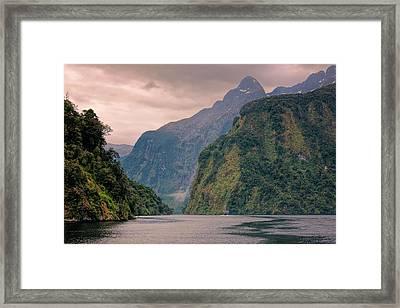 Cloudy Morning Doubtful Sound New Zealand Framed Print by Joan Carroll