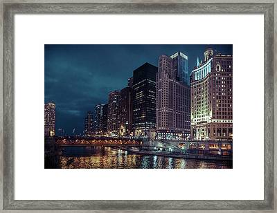 Cloudy Night Chicago Framed Print