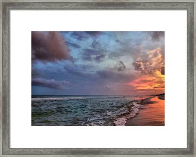 Cloudy Ocean Sunset Framed Print