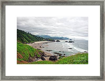 Cloudy Oregon Coast From Ecola Park Framed Print by Lincoln Rogers
