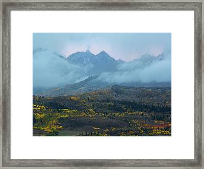 Framed Print featuring the photograph Cloudy Peaks by Aaron Spong