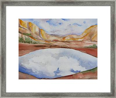 Cloudy Reflections Framed Print by Kathy Mitchell