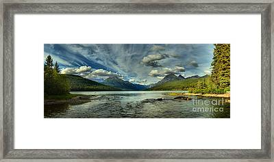 Cloudy Skies Over Bowman Lake Framed Print by Adam Jewell