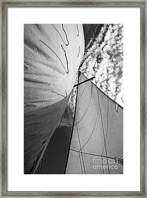 Cloudy Sky Seen Through Billowing White Sails Framed Print by Sami Sarkis