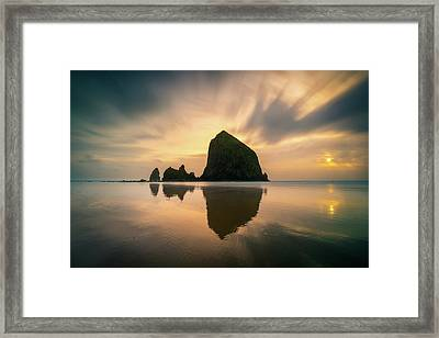 Cloudy Sunset At Cannon Beach Framed Print