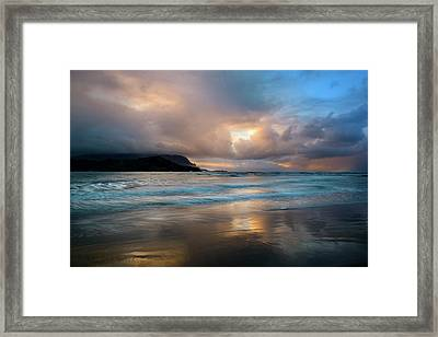 Cloudy Sunset At Hanalei Bay Framed Print