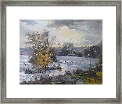 Cloudy Sunset In Niagara Falls River  Framed Print by Ylli Haruni