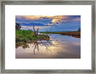 Cloudy Sunset On Assateague Island Framed Print