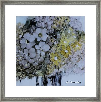 Framed Print featuring the painting Cloudy With A Chance Of Sunshine by Joanne Smoley