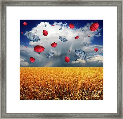 Cloudy With A Chance Of Umbrellas Framed Print