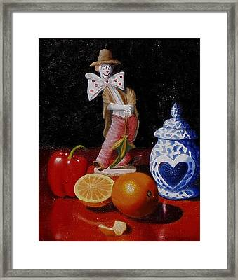 Framed Print featuring the painting Clown Around Fruit by Gene Gregory