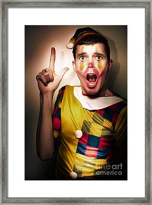 Clown Bank Robber Performing A Copyspace Holdup Framed Print by Jorgo Photography - Wall Art Gallery
