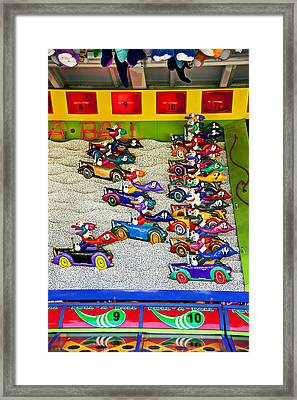 Clown Car Racing Game Framed Print by Garry Gay
