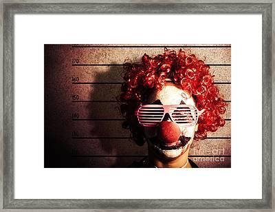 Clown Criminal Mug Shot Photo Id On Police Lines Framed Print