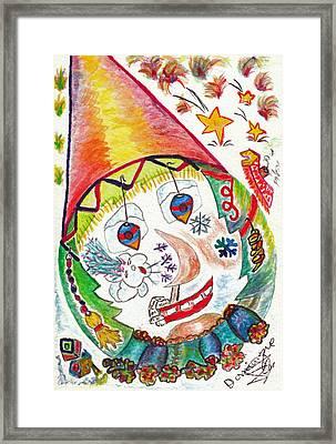 Clown Dans La Tourmente / Clown In Storm Framed Print by Dominique Fortier
