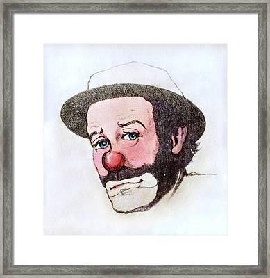 Clown Emmett Kelly Framed Print by Miriam Danar
