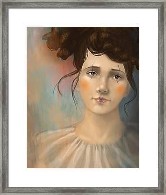 Framed Print featuring the digital art Clown Girl by Angela Murdock