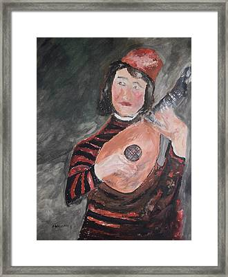 Clown Playing The Lute Framed Print by Edward Wolverton