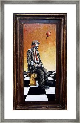 Clown S Melancholy Framed Print by Natalia Tejera