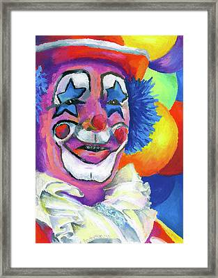 Clown With Balloons Framed Print by Stephen Anderson
