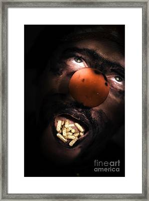 Clown With Capsules In Mouth Framed Print
