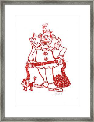 Clown With Dog Framed Print by Barry Nelles Art