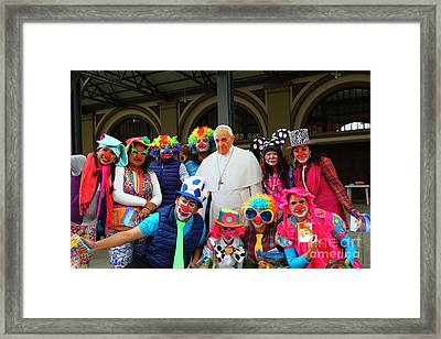 Clowning Around With Pope Francis Framed Print by James Brunker