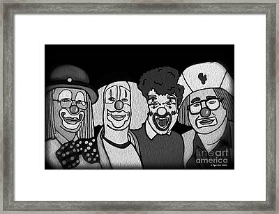 Clowns Bw Framed Print by Megan Dirsa-DuBois