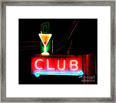 Club Neon Sign 24x20 Framed Print by Melany Sarafis
