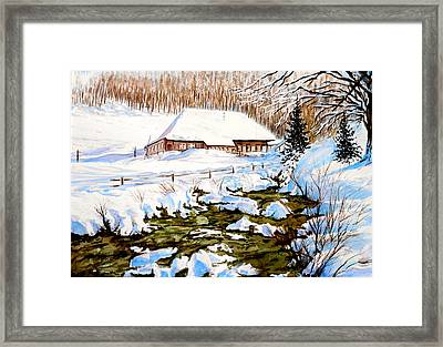 Clubhouse In Winter Framed Print by Sher Nasser