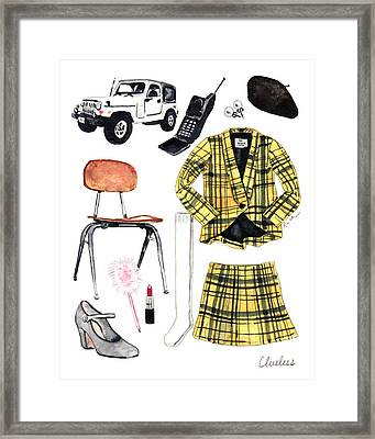 Clueless Movie Collage 90's Fashion Framed Print by Laura Row