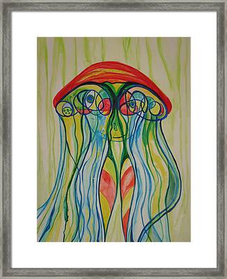 Clyde The Jellyfish Framed Print by Erika Swartzkopf