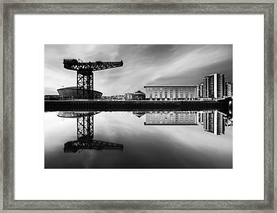 Clyde Waterfront Mono Framed Print by Grant Glendinning